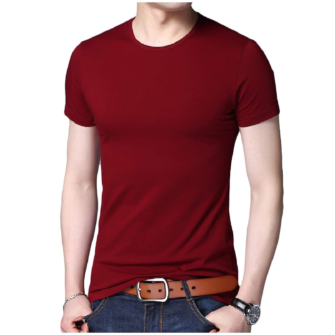 SayahMen Pullover Short Sleeve O-Neck Oversized Fit Pure Color Tees
