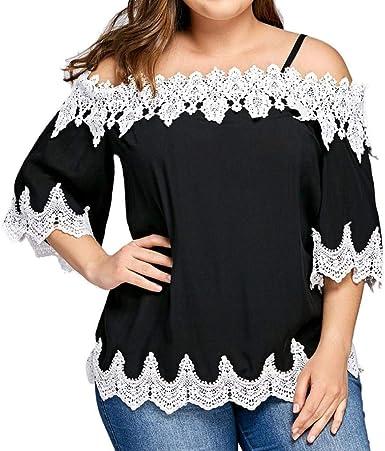 Camisetas Elegantes Moda Camisas Sin Modernas Mujer Verano Sling Casual Tirantes Hueco Splice Encaje Manga Larga Barco Cuello Casual Camisa Casuales Cómodo Hipster Tshirt: Amazon.es: Ropa y accesorios