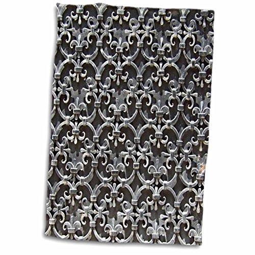 3dRose InspirationzStore Photography - Black Gothic damask metal pattern - medieval wrought iron metal work - fleur de lis floral clovers - 15x22 Hand Towel (twl_157628_1) (Wrought Iron Clover)