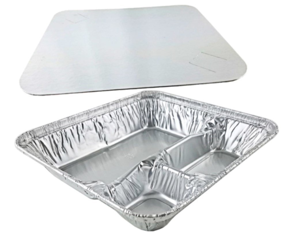Pactogo Large 3-Compartment Oblong Aluminum Foil Take-Out Pan Senior Feeding TV Dinner Entrée Tray w/Board Lid (Pack of 100 Sets)
