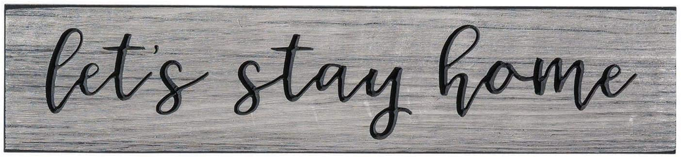 """The Dancing Firefly - """"Let's Stay Home"""" (16 x 3.5 inch) - Made in USA - Primitive, Engraved Signs and Home Decor"""