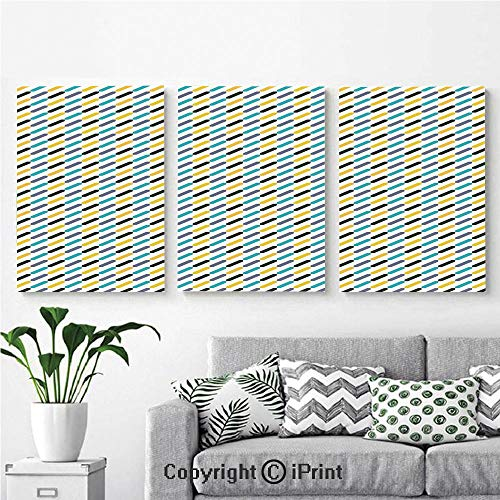 Wall Art Decor 3 Pcs High Definition Printing Diagonal Stylized Different Colored Lines Striped Vintage Vibrant Painting Home Decoration Living Room Bedroom Background,16