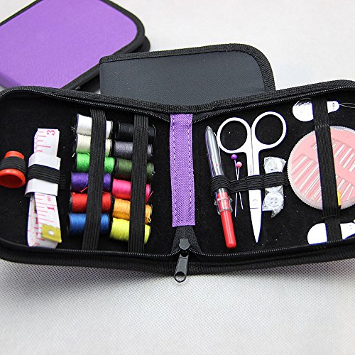 INTBUYING Mini Sewing Kit for Home Travel or Emergency Premium Sewing Supplies for Beginners, Kids, Girls, Boys, Adults Color Purple