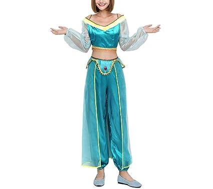 b91368ad406a Amazon.com: Aladdin Princess Jasmine Adult Kid Suit Cosplay Dress Costume  Green for Halloween Christmas: Clothing