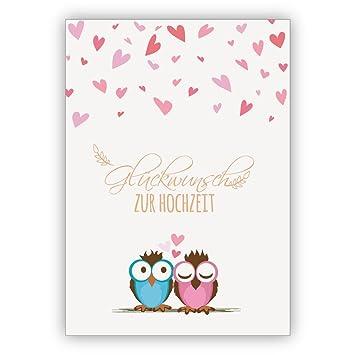 Zwei süße Eulen mit viel Herz gratulieren auf dieser Hochzeitskarte ...