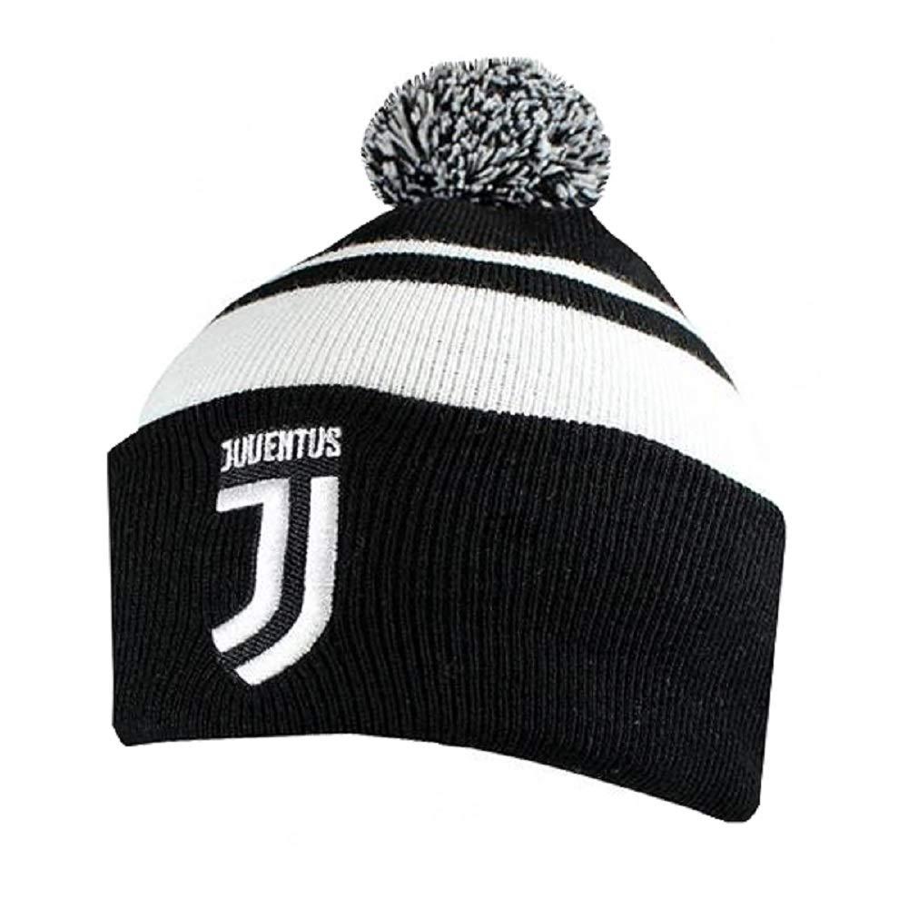 Colore Bianco//Nero Berretto con Pompon Lavorato a Maglia Juventus