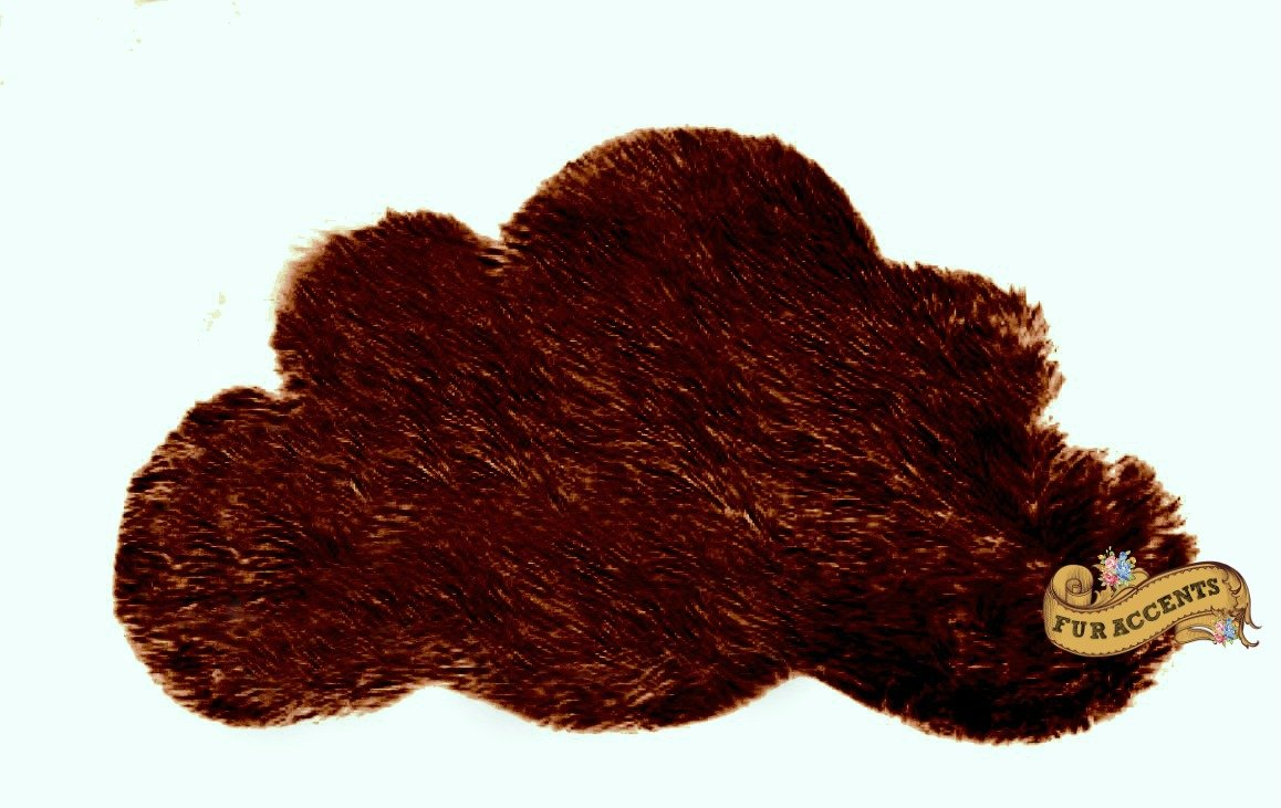 Baby Nursery Area Rug / Cloud Shaped Faux Fur Accent Throw / Sheepskin Shag (5'x6', Chocolate Brown)