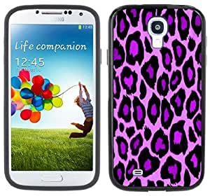 Purple Leopard Animal Print Handmade Samsung Galaxy S4 Black Bumper Hard Plastic Case