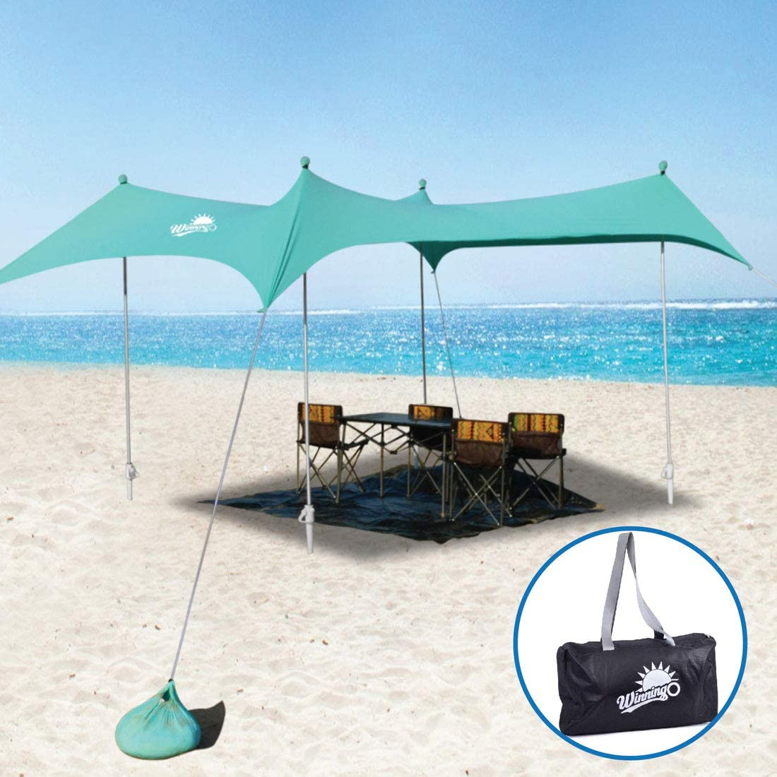 WINNINGO Premium Beach Sunshade, Upgraded Family Large Sun Shade Canopy 10 x 9 with 4 Aluminum Poles, 4 Pole Anchors, Waterproof Carry Bag and Bonus Tarp Mat, UPF50 UV Protection
