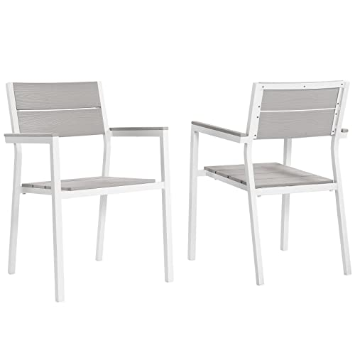 Modway EEI-1739-WHI-LGR-SET Dining Armchair, Two, White Light Gray