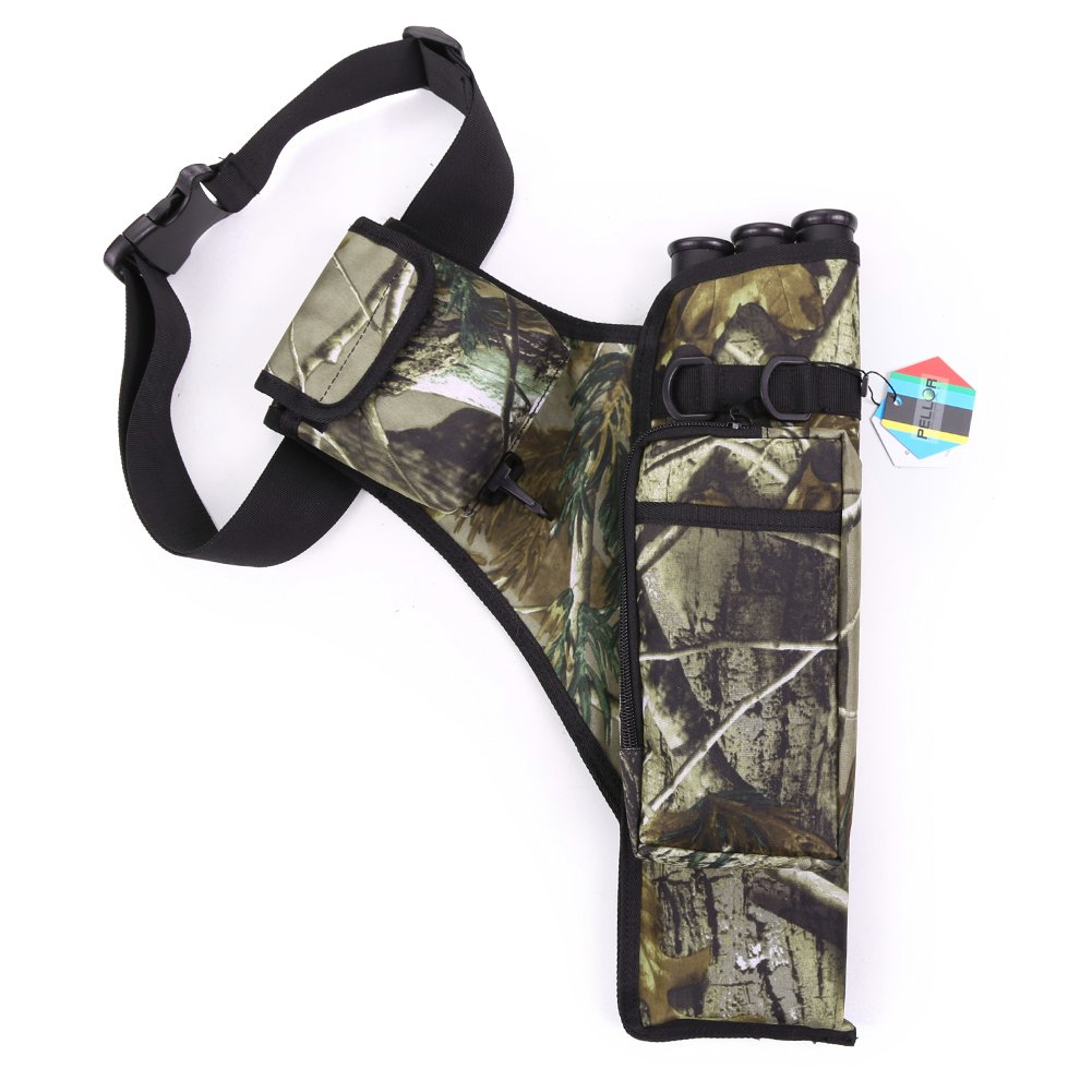 Pellor Oxford Hunting Archery Quiver with Shoulder Strap 3-Tube for Back or Waist Use (Camo)