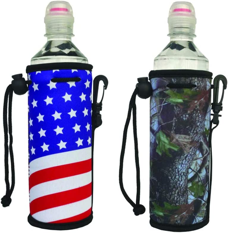E - Living 500ML (16.9 OZ) Collapsible Printed Neoprene Water Bottle Drawstring Cooler/Coolie/Cover/Insulator/Holder/Huggie/Sleeve - 2 Pack (12 Colors) (Flag+Camo)