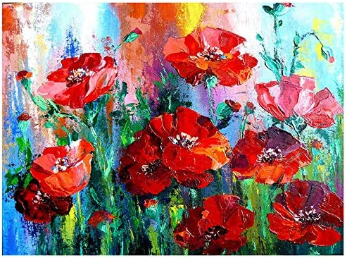 Zimal DIY Diamond Embroidery Red Poppy Flower Full Drill Picture By Number Mosaic Home Decoration Diamond Painting 30X40cm