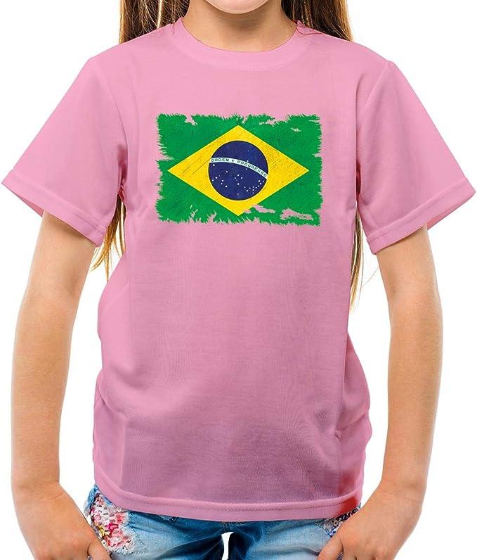 Dressdown Brasil Grunge Estilo Bandera – Camiseta para niños – Rosa Claro – XL (12 – 14 años): Amazon.es: Ropa y accesorios