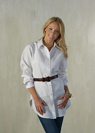 f558d68ce7 Ladies Long White Linen Shirt (M)  Amazon.co.uk  Clothing