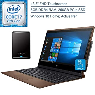 "2019 HP Spectre Folio Convertible 13.3"" FHD Touchscreen Laptop Computer, 8th Gen Intel Core i7-8500Y up to 4.2GHz, 8GB RAM, 256GB PCIe SSD, Active Pen, Windows 10 + EST 500GB External Hard Drive"