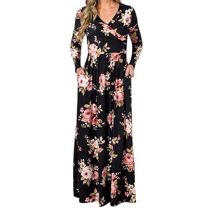 Mujeres Vestidos Largo Manga Vestidos Mujer Maxi Vestidos Elegante Floral Vestir Vendimia V- Cuello Largo