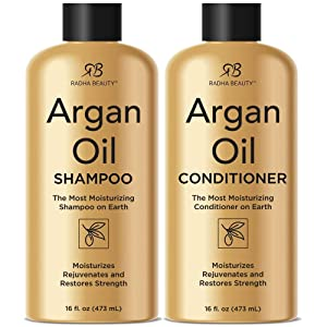Radha Beauty Argan Oil Shampoo & Conditioner Set, 16 fl oz. for Daily Use, Moisture, and Hair Restoration - Sulfate Free for Men & Women