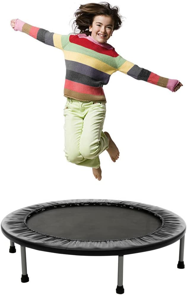 Mini Rebounder Trampoline – Exercise Fitness Trampoline for Adults and Kids with Safety Pad, Max Load 220lbs