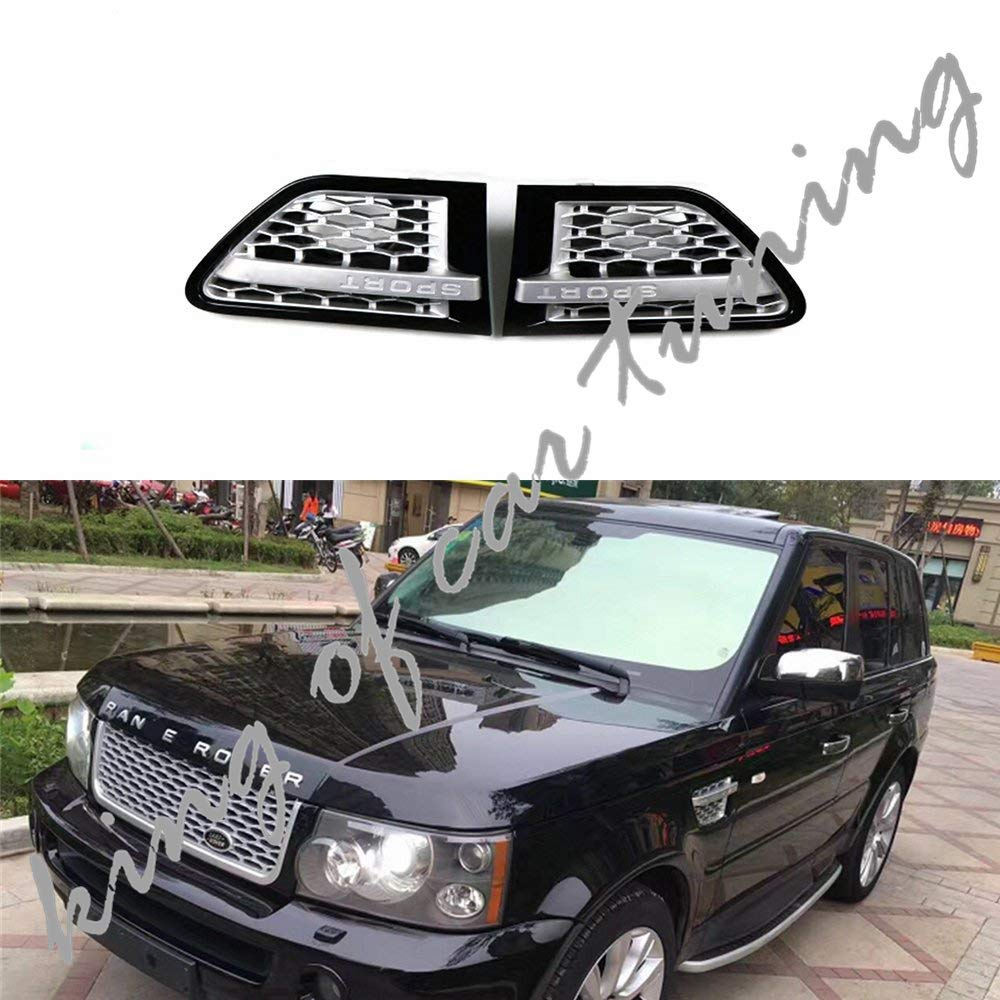 king of car tuning 2PCS Side Vent Mesh Cover Grill Grille Fits for Land Rover Range Rover Sport 2006-2013