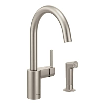 Moen 7165SRS Align One-Handle High-Arc Modern Kitchen Faucet with Side  Spray, Spot Resist Stainless