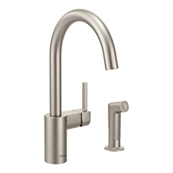 moen 7165srs align one handle high arc kitchen faucet with side spray spot