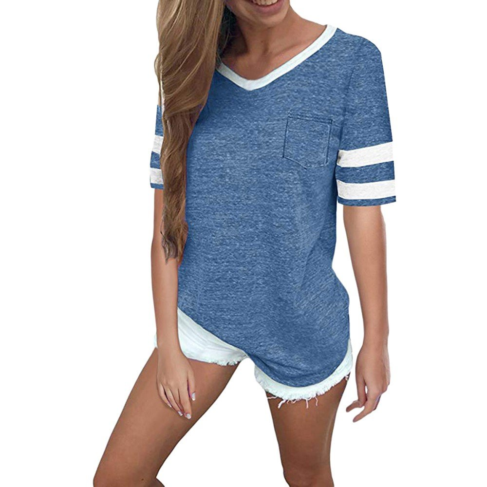 TIFENNY Summer Fashion Stripe Tee for Women Round Neck Short Sleeve Splice Blouse Tops Clothes T Shirt Shirt Blue