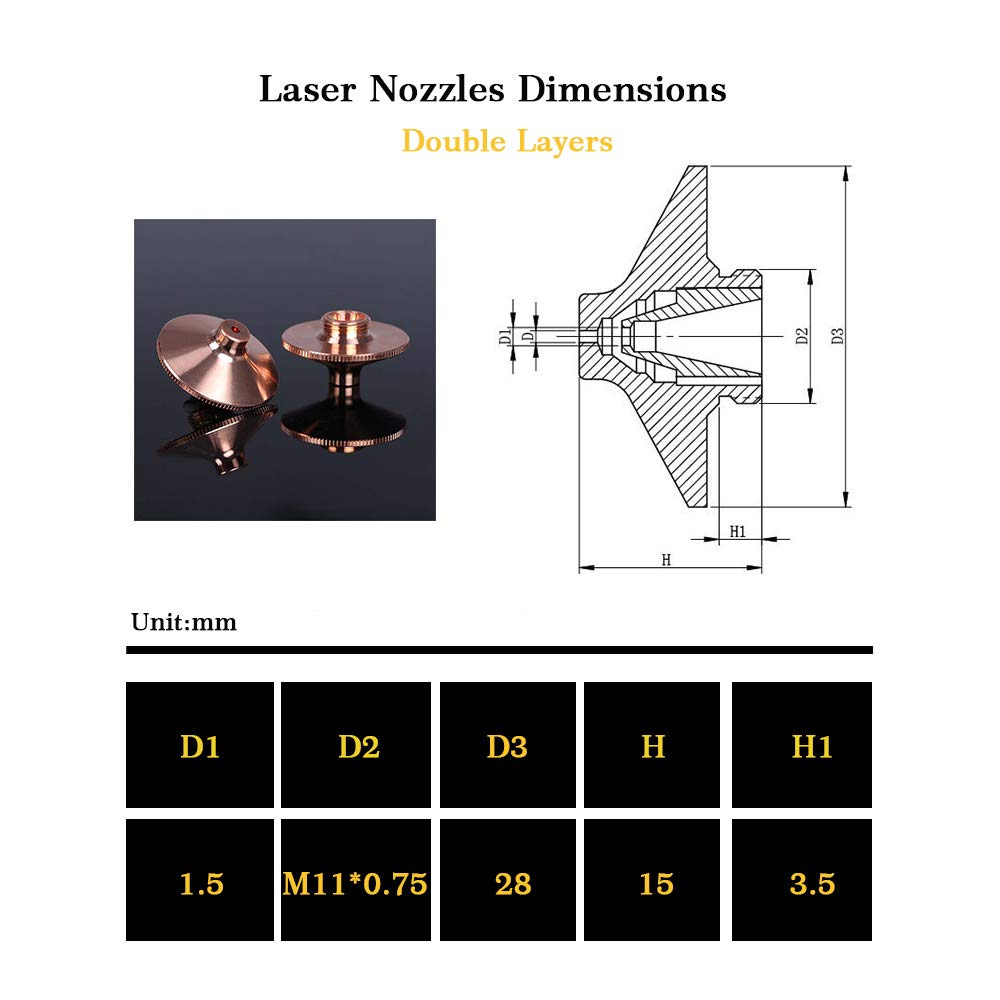 Caliber:3.0 Laser Nozzles Replacements Caliber 0.8mm to 5.0mm for Precitec Double Layers