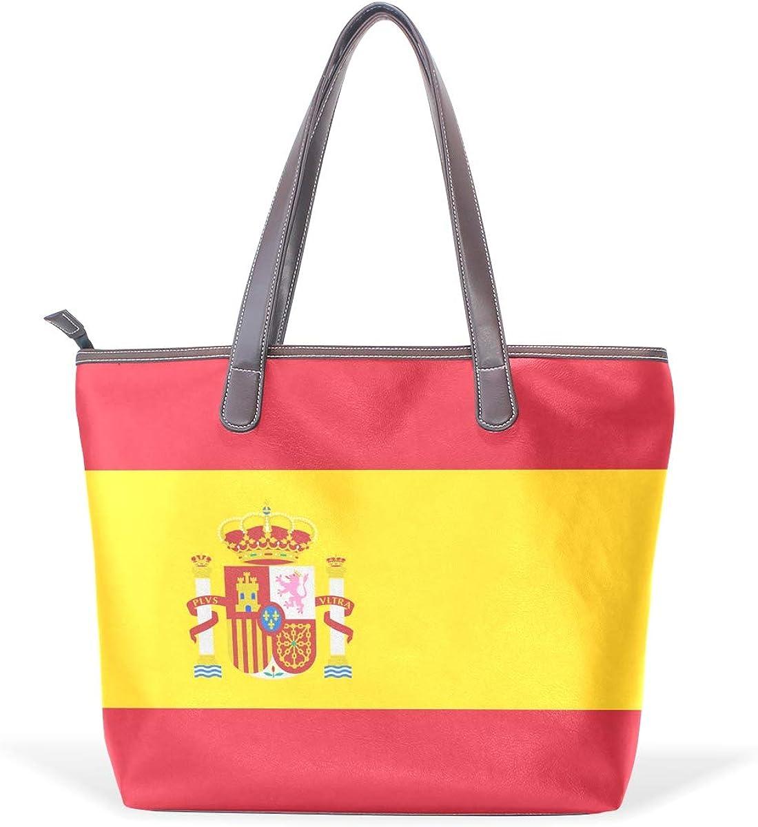 DEZIRO - Bolso de mano para el día a día, diseño de bandera de España: Amazon.es: Zapatos y complementos