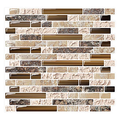 Yipscazo Peel and Stick Backsplash Tile for Kitchen, Anti-Mold Wall Tile in Sandstone (10 Sheets 10