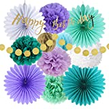 Mermaid Birthday Decorations Party Supplies Kit Paper Fans Decor + Happy Birthday Banner