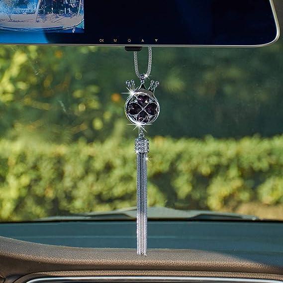 Pink ATMOMO Pear Shaped Cat Eye Car Hanging Ornament Car Rear View Mirror Pendant Car Charm