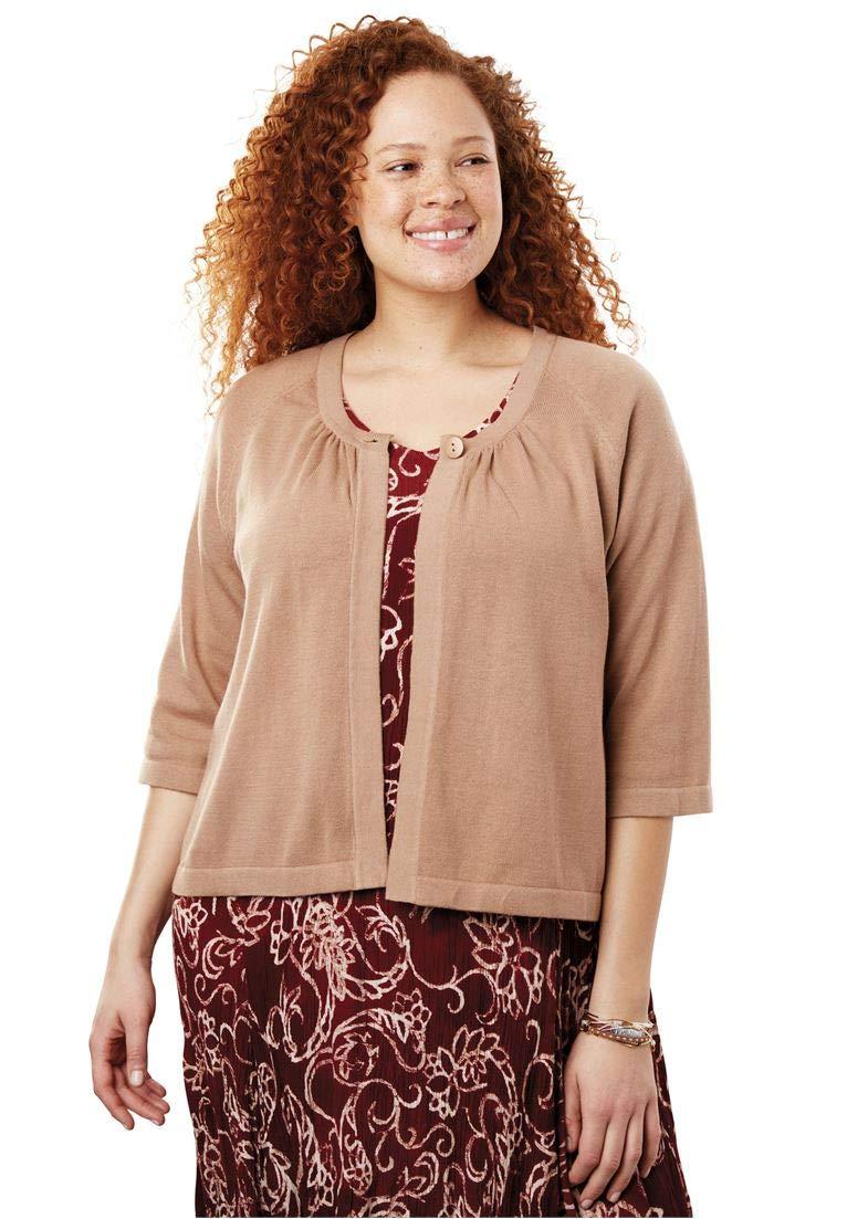 Woman Within Women's Plus Size Single Button Shrug Cardigan