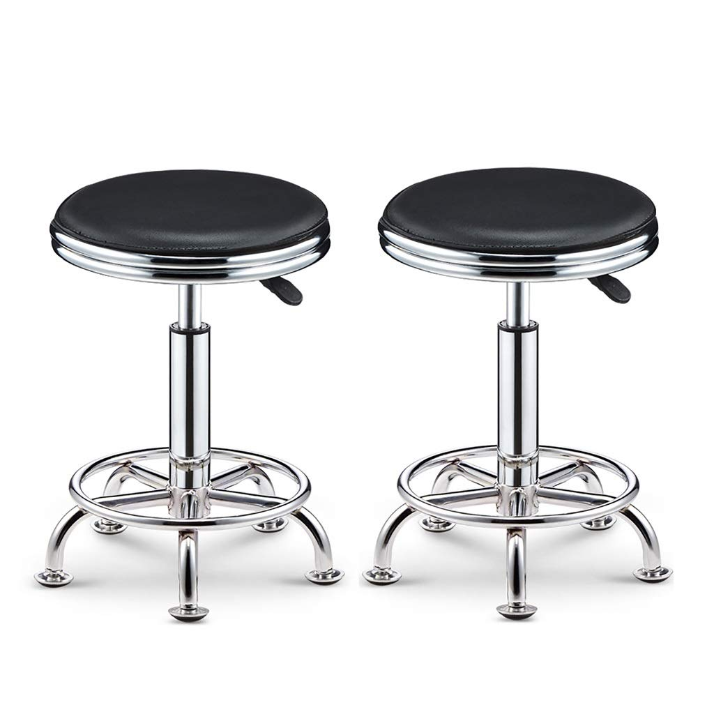 Black×2 NUBAO Task Stool, Counter Chair, High Stool, Hard Leather Packaging Electroplated Chassis Nail Non-Slip Mute Clinic Hair Salon Stool Lift 39-51cm 6 colors (color   White)