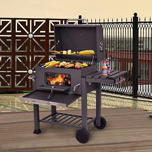 Large Charcoal Grill with Wheels Outdoor Cooking Barbecue Patio Yard Picnic BBQ Tailgate Tailgating
