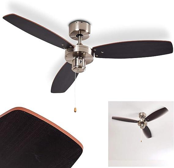 Ventilador de techo Fossa de metal/madera en níquel/plata mate o marrón, 2 cuerdas de tracción y hélices reversibles, regulable en 3 velocidades, Ø 98 cm, apto para uso en verano e invierno: