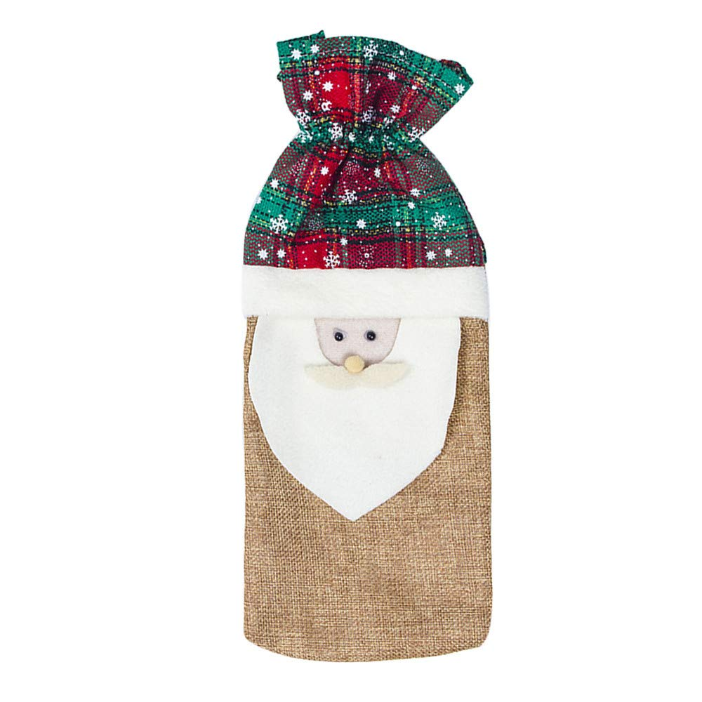 NEARTIME Red Wine Bottle Cover Bags Snowman Santa Claus Christmas Decoration Sequins Xmas