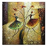 Metuu Oil Paintings, Ballet Dancer Girl Paintings Modern Home Decor Wall Art Painting Wood Inside Framed Hanging Wall Decoration Abstract Painting Ready to hang 32x32inch