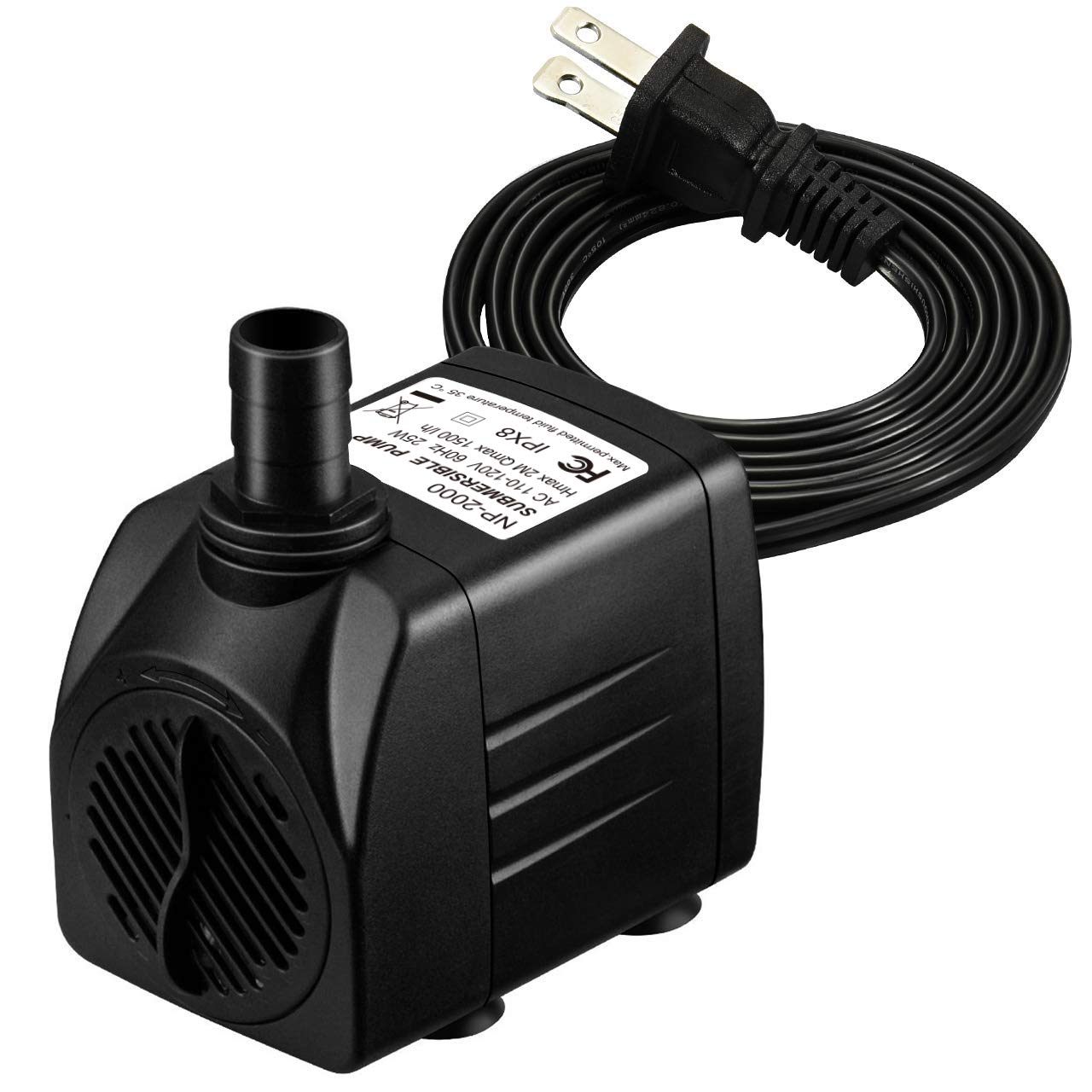 Homasy 400GPH Submersible Pump 25W Ultra Quiet Fountain Water Pump with  5 9ft Power Cord, 2 Nozzles for Aquarium, Fish Tank, Pond, Hydroponics,