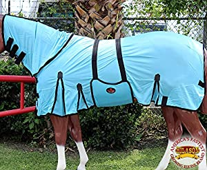 Hilason Uv Protect Mesh Horse Fly Sheet W/neck Cover & Belly Wrap Turquoise