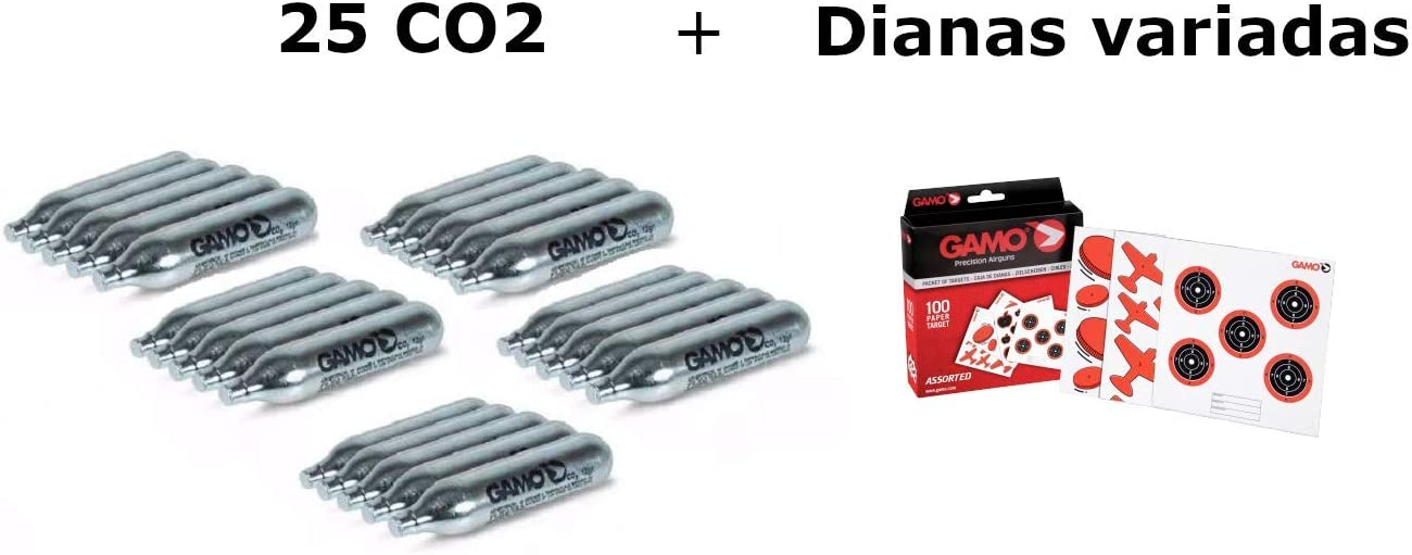 Pack 25 bombonas CO2 12gr. Gamo + 100 Dianas Gamo variadas. para Pistolas y Carabinas