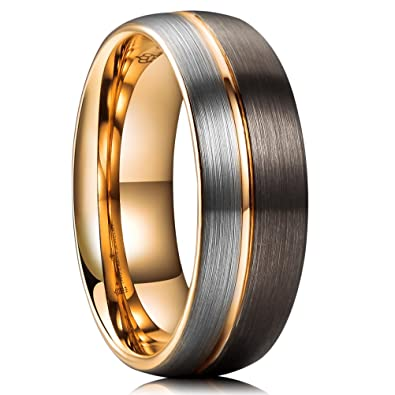 Three Keys Jewelry 8mm Brown and Silver Tungsten Wedding Ring Thin