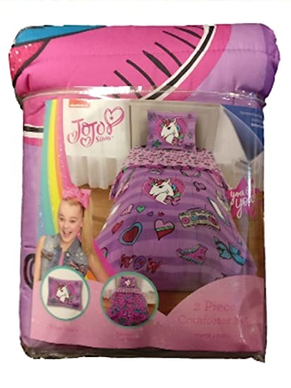 Amazoncom Jojo Siwa Purple Unicorn 2 Piece Comforter Set Twin