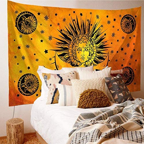 Orange Tie Dye Sun And Moon Tapestry Wall Hanging,Hippie Indian Tapestry,Indie Aesthetic Wall Decor For Dorm Room In College Girls 55 x85