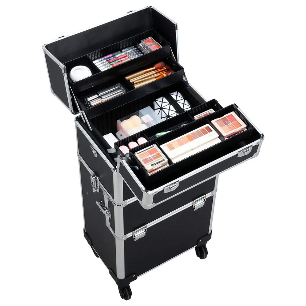 Yaheetech 3 in 1 Professional Artist Rolling Trolley Makeup Train Case, Aluminum Cosmetic Organizer Makeup Case 360-degreed Wheels For Beauty Chains Shoulder Straps Black by Yaheetech