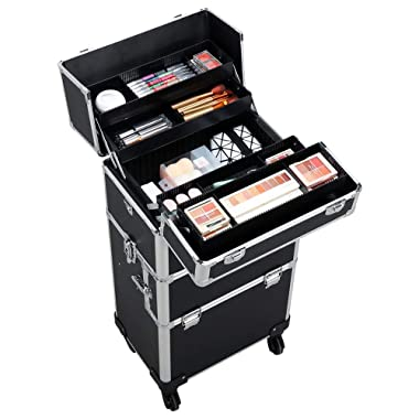 Yaheetech 3-in-1 Professional Artist Aluminum Rolling Trolley Makeup Train Case, Cosmetic Organizer Makeup Case 360-degreed Wheels For Beauty Chains W/shoulder Straps (Black)