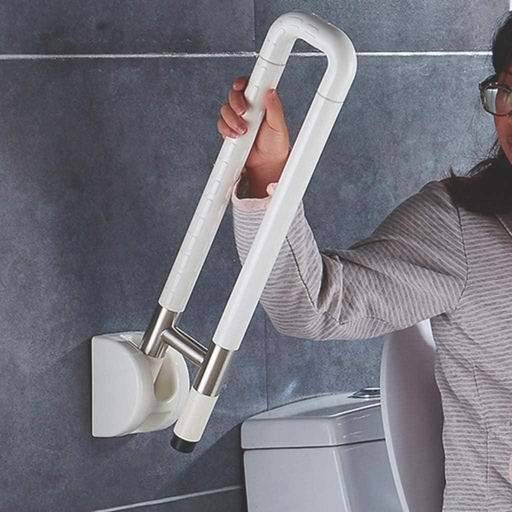 B07QTX6RT8 DWW Folding Shower Grab Bar Bathroom Non-Slip Medical Safety HandRail - Mounted Bathtub Assist Stainless Handle for Handicap, Elderly, Adult and Disabled (Color : White) 51k7Pt0zhRL