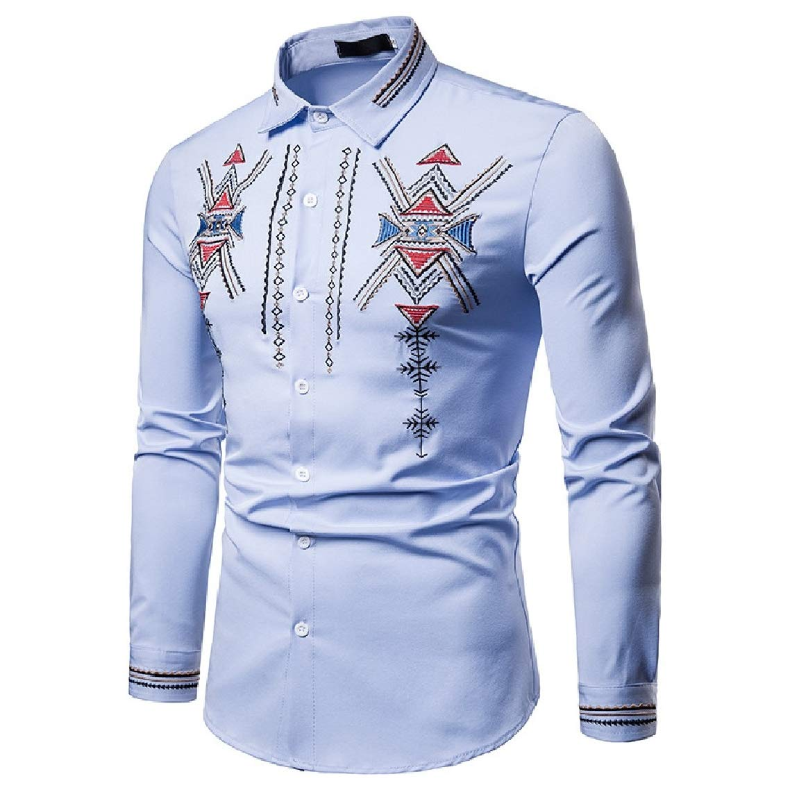 Highisa Mens Autumn Embroidery Floral Lapel Long Sleeve Trible Shirts