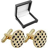 1 Paar Edelstahl Manschettenknöpfe Gold Matt Glänzend Etui Geschenkbox Krawatte Herrenschmuck Für Hemd Herren Cufflinks