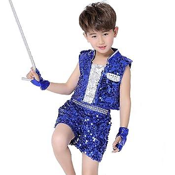 Amazon.com: wgwioo niños Jazz trajes de baile lentejuelas ...